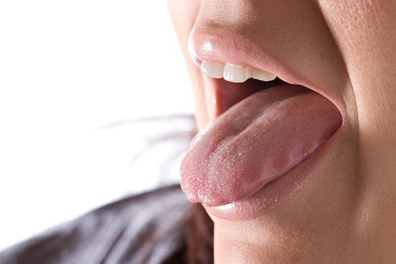 This is not a tongue thrust, just a woman sticking out her tongue